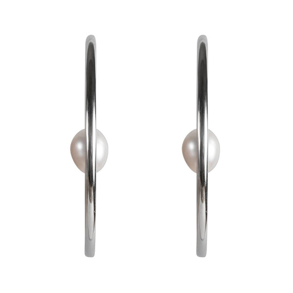 PEARL ORBIT HOOPS - SILVER