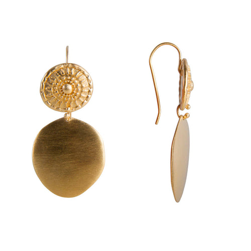 ALEXA TRIBAL SHIELD EARRINGS - GOLD