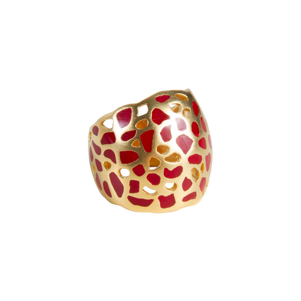 ISADORA CUFF RING - GOLD/RED