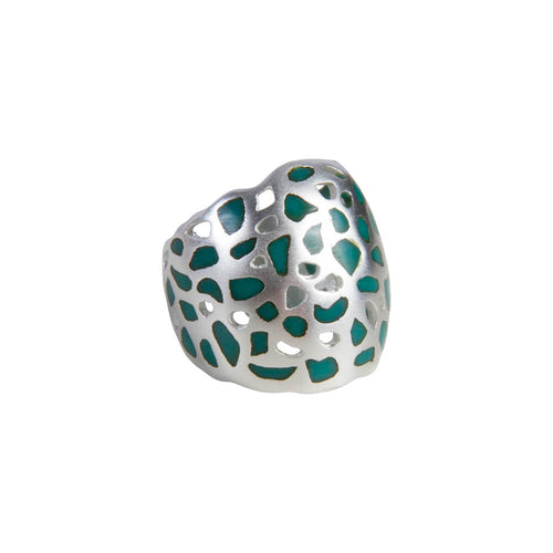 ISADORA CUFF RING - SILVER/GREEN