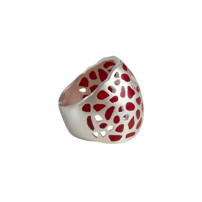 ISADORA CUFF RING - SILVER/RED