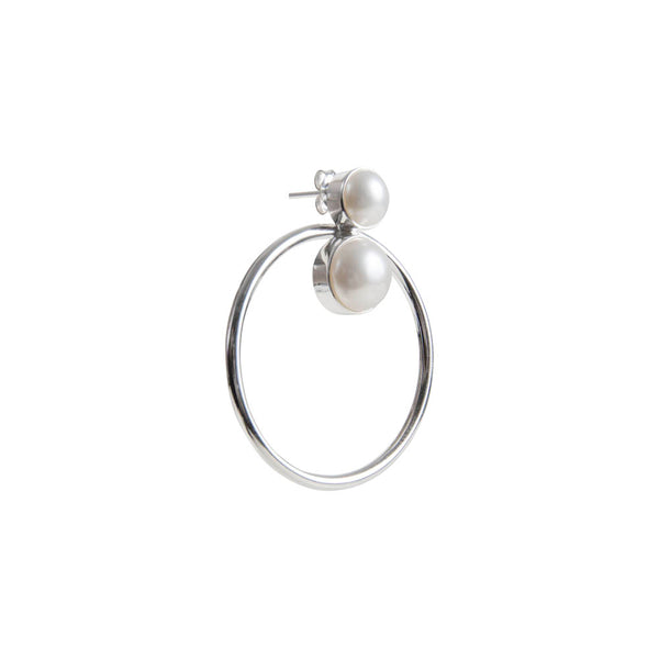 PEARL DOUBLE DUTCH EARRINGS - SILVER