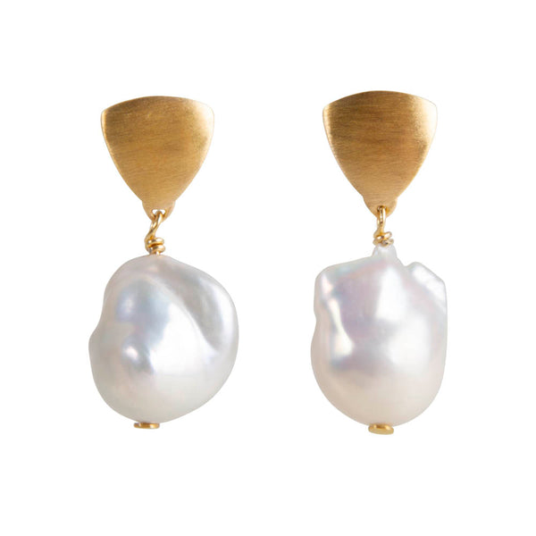 BAROQUE PEARL SHIELD DROPS - GOLD