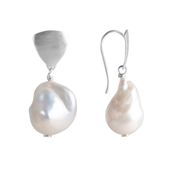 BAROQUE PEARL SHIELD DROPS - SILVER