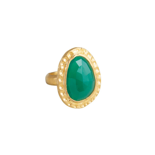 GREEN AGATE COCKTAIL RING