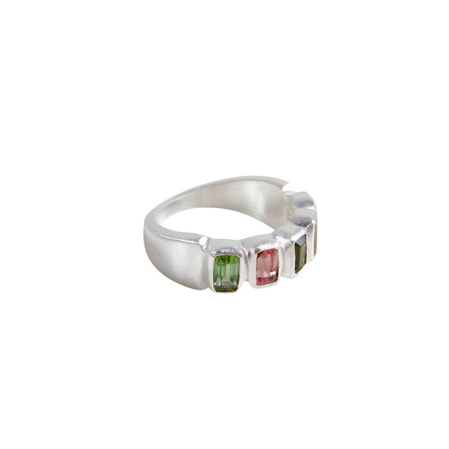 TOURMALINE BAGUETTE RING - SILVER