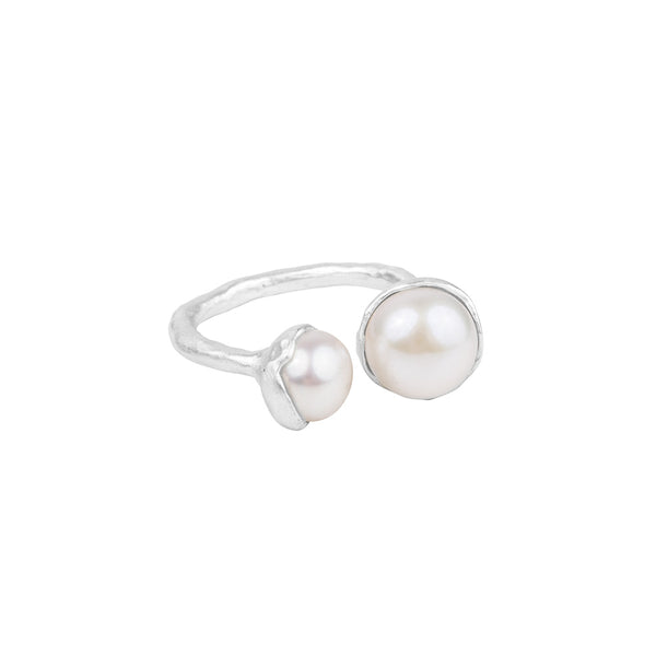 DOUBLE PEARL RING - SILVER