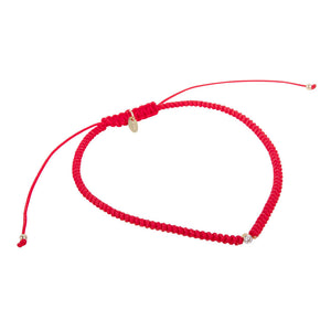 DIAMOND 18K GOLD FRIENDSHIP BRACELET - RED