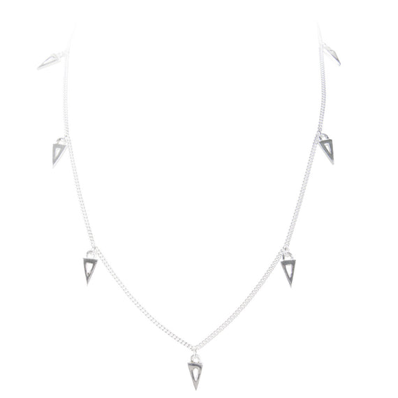 TRIANGLE CHARM NECKLACE - SILVER
