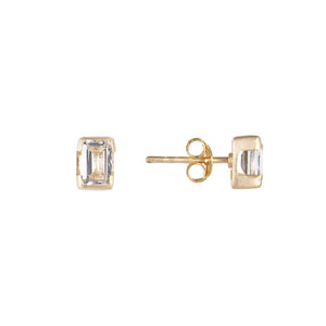 APRIL BIRTHSTONE STUDS - WHITE TOPAZ
