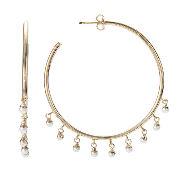 PEARL POM EMPIRE HOOPS - GOLD