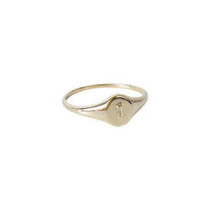 14K GOLD WHITE TOPAZ SIGNET RING