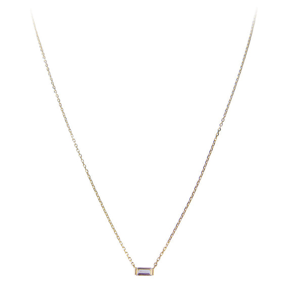 14K GOLD WHITE TOPAZ BAGUETTE  NECKLACE