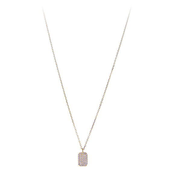 14K GOLD DIAMOND TAG NECKLACE