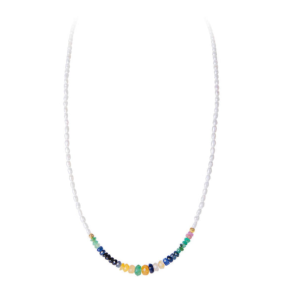 SEED PEARL RAINBOW NECKLACE