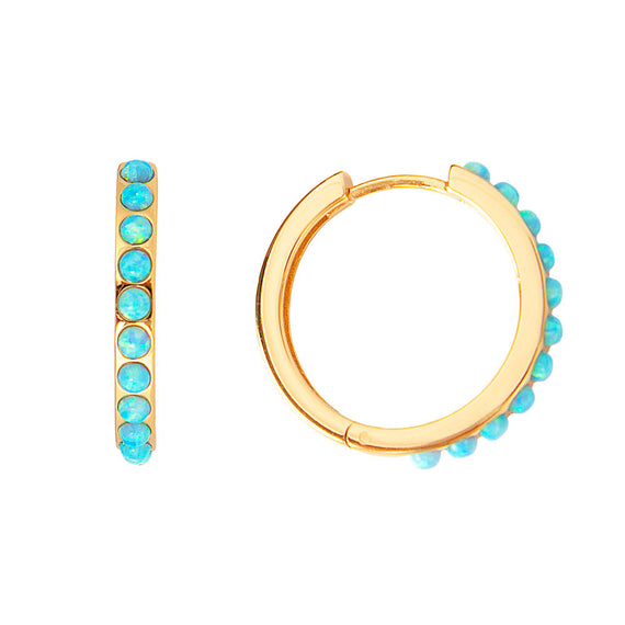 BLUE OPAL CRYSTAL MAXI HOOPS
