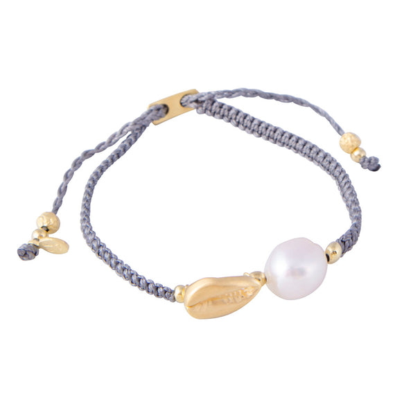 PEARL COWRIE SHELL ROPE BRACELET - GREY