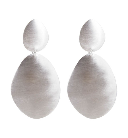 BEATEN DISC EARRINGS - SILVER
