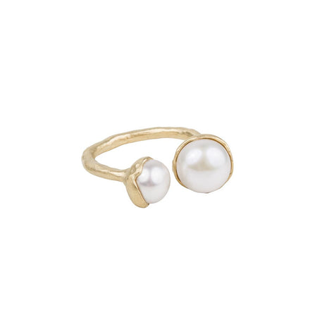 DOUBLE PEARL RING - PINK & CREAM