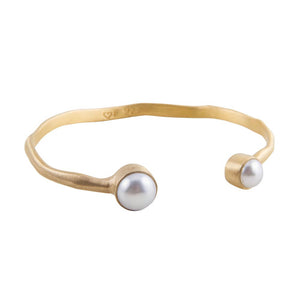 DOUBLE PEARL CUFF - GOLD