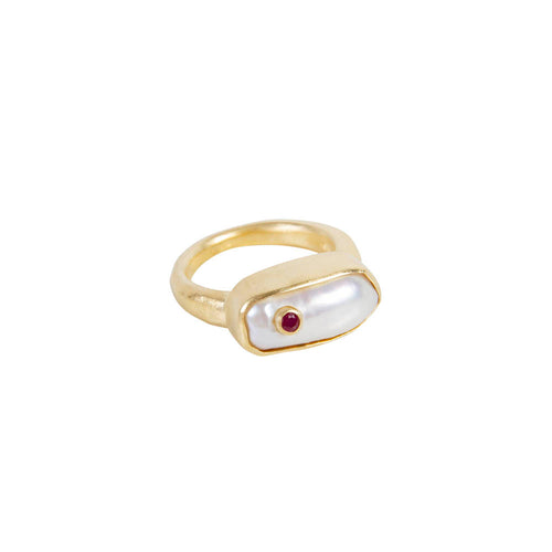 PEARL PUFF RUBY RING