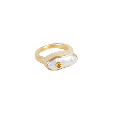 PEARL BAR RING - GOLD