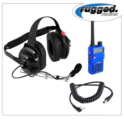 RUGGED RADIOS VHF/UHF RH-5R 5-Watt Radio and Headset Crew Chief/Spotter Package