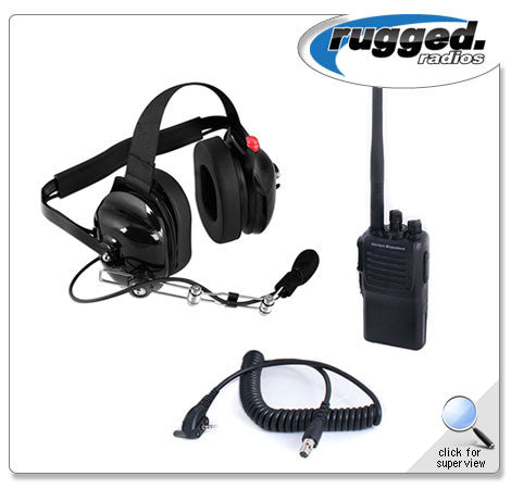 RUGGED RADIOS UHF VX-230 5-Watt Radio and Headset Crew Chief/Spotter Package