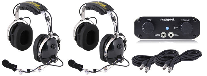 RUGGED RADIOS RRP660 2 Place Intercom System with Over the Head Headsets