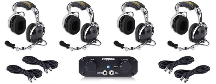 RUGGED RADIOS RRP660 4-Place Intercom Kit with Over the Head Headsets