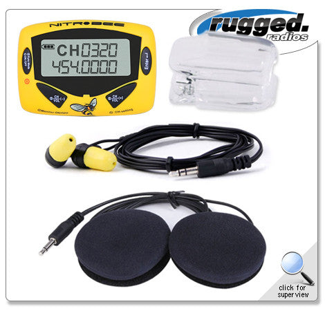RUGGED RADIOS Nitro-Bee Single Channel UHF Race Receiver with Stereo Helmet Speakers