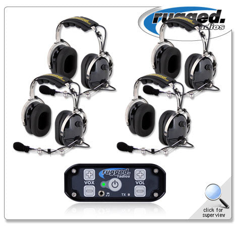 RUGGED RADIOS RRP686 4 Place Intercom System with OTH Headsets