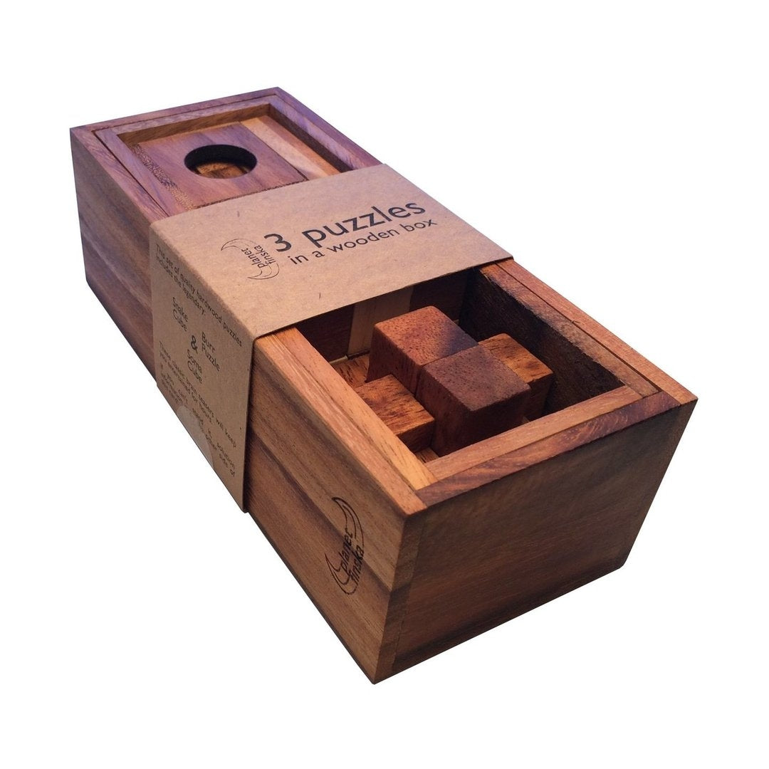 3 Puzzles In A Wooden Box