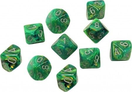 CHX27295 Lustous Polyhedral Green/silver Set of Ten d10s Chessex