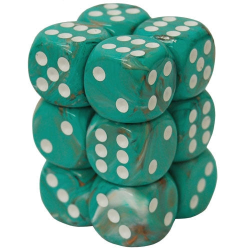 CHX27603 Marble 16mm d6 Oxi-CP wh Dice Block Chessex