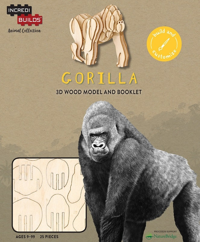 Gorilla - Incredibuilds Animal Collection 3d Wood Model