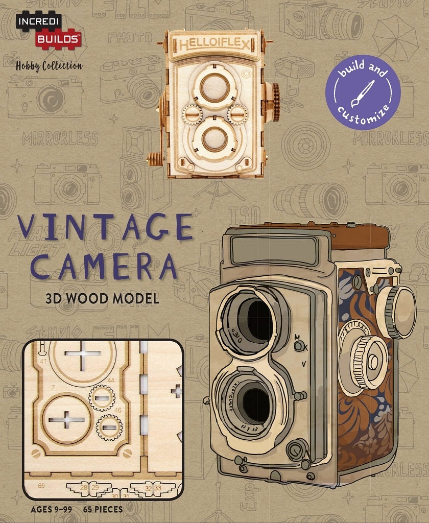 Vintage Camera - Incredibuilds 3D Wood Model and Book - Hobby Collection