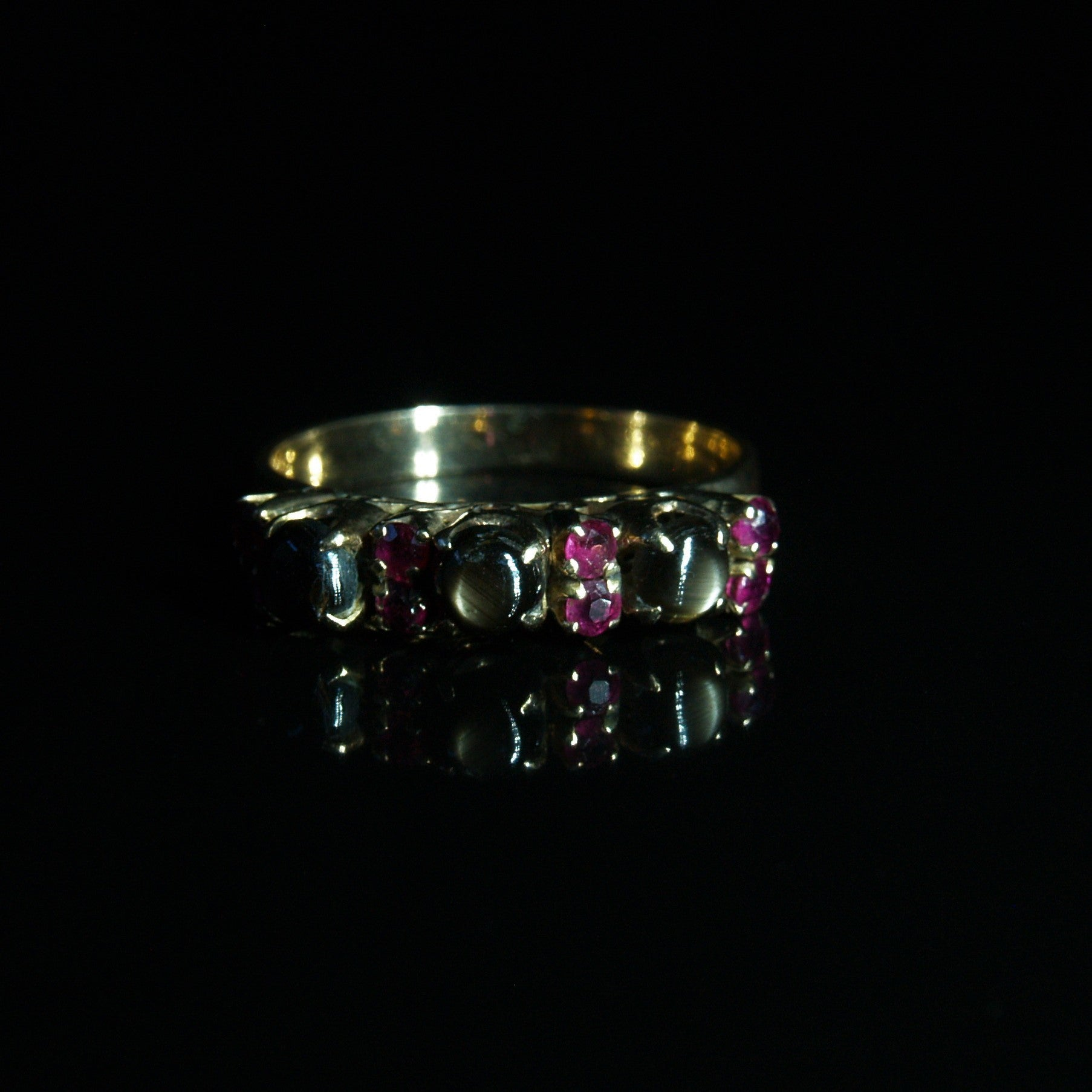 14ct Gold Star Sapphire & Ruby Ring.