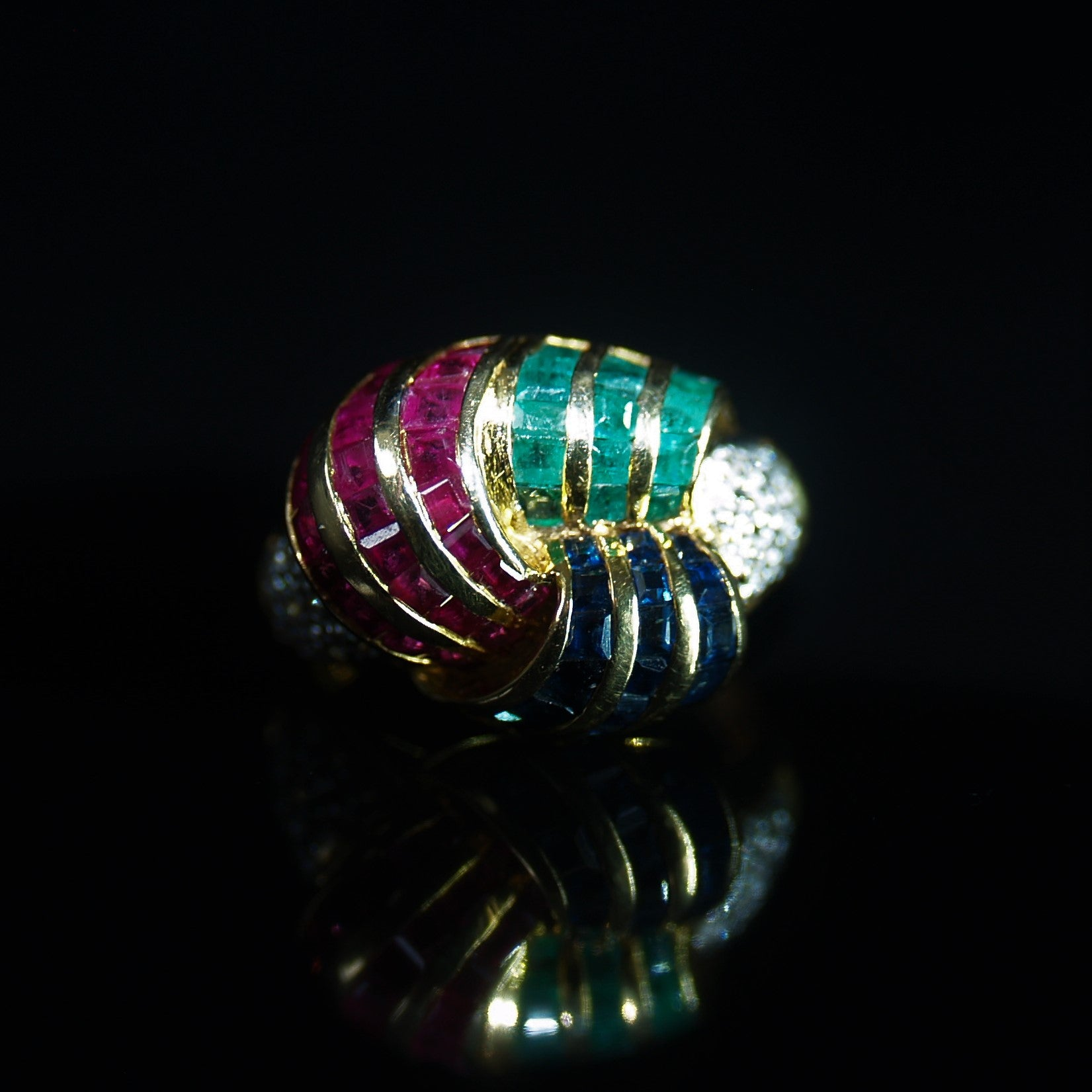 18ct Ruby Emerald Sapphire & Diamond Dress Ring.