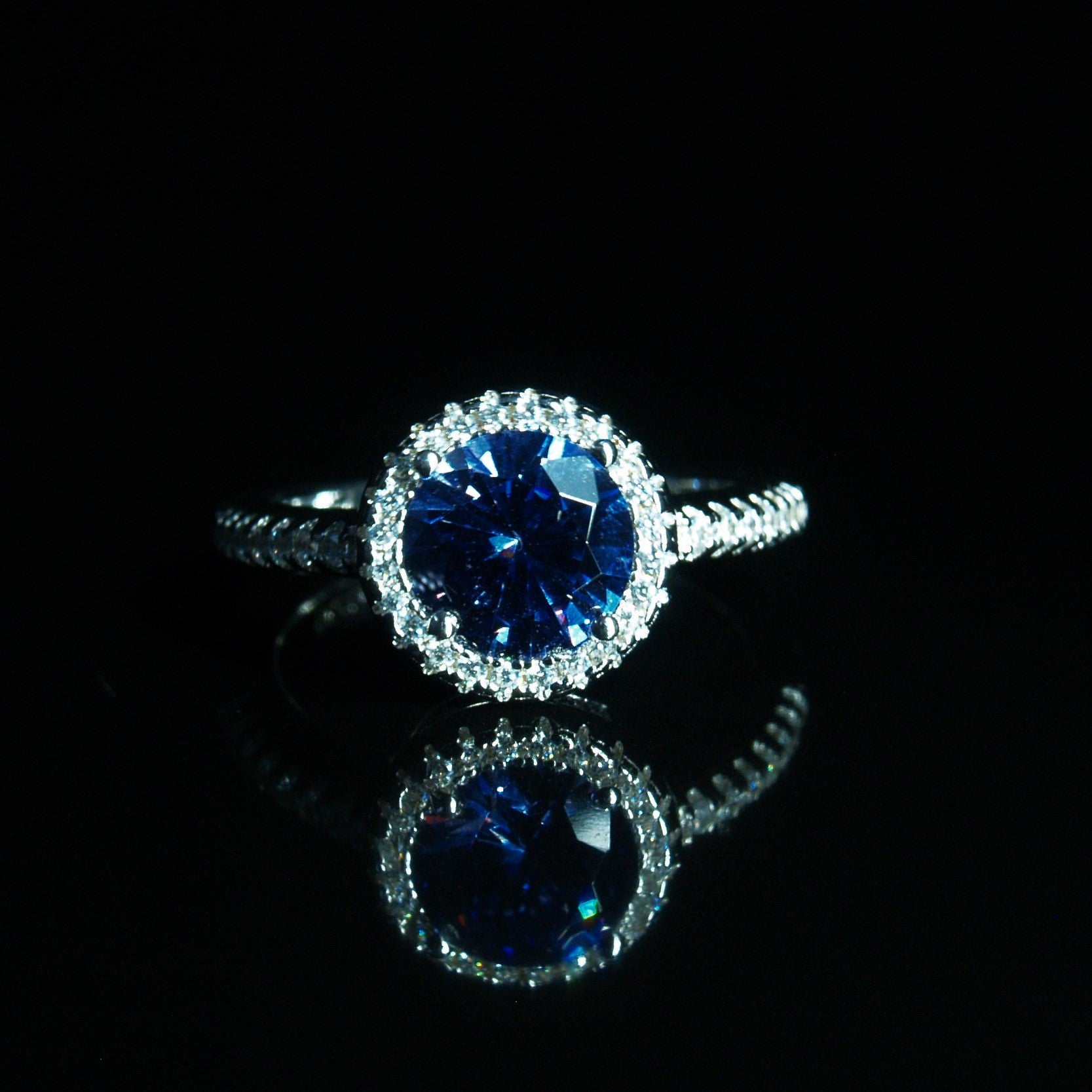 Sterling Silver Tanzanite Blue & White Cubic Zirconia Ring.