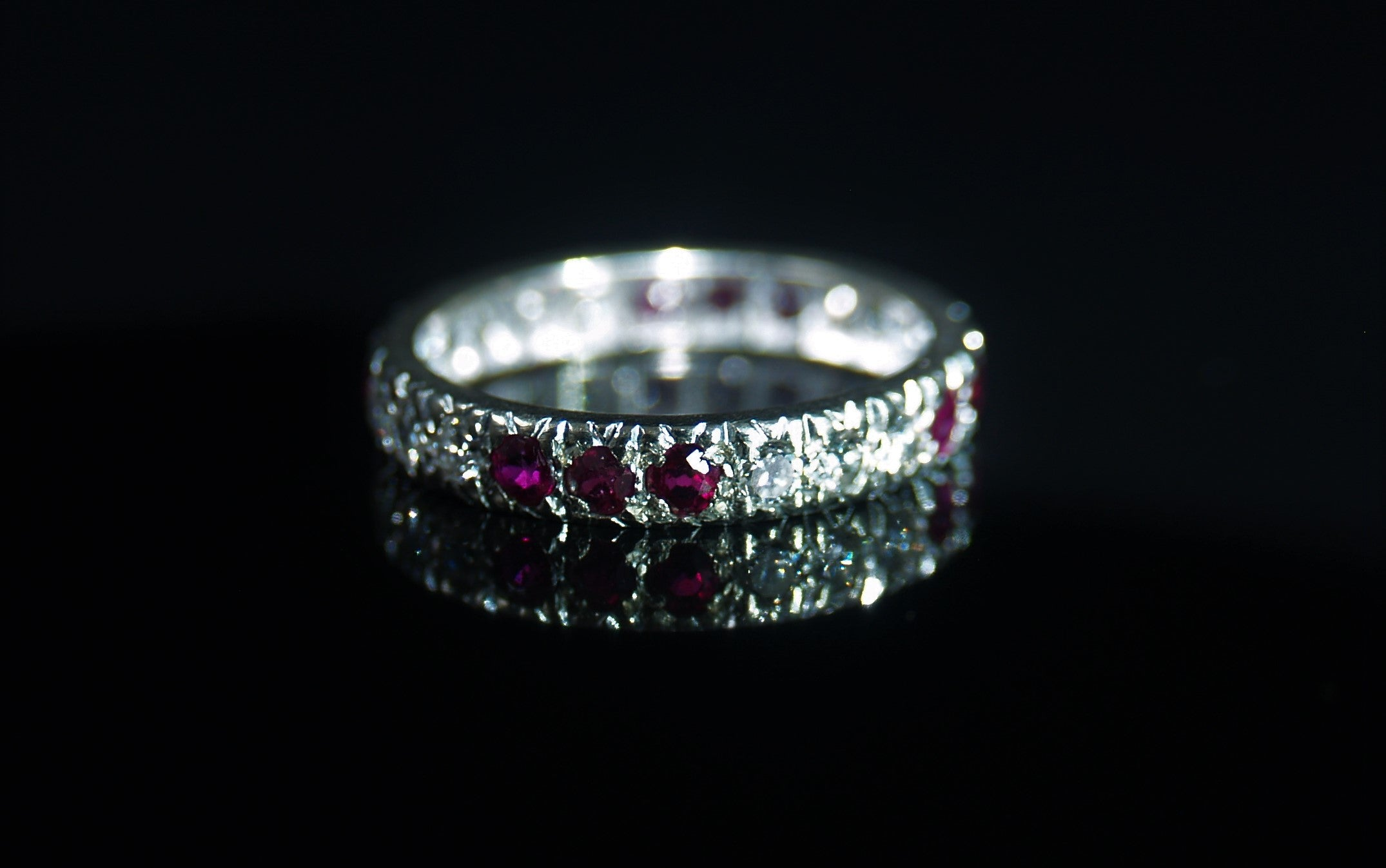 18ct White Gold Ruby & Diamond Full Eternity Ring.
