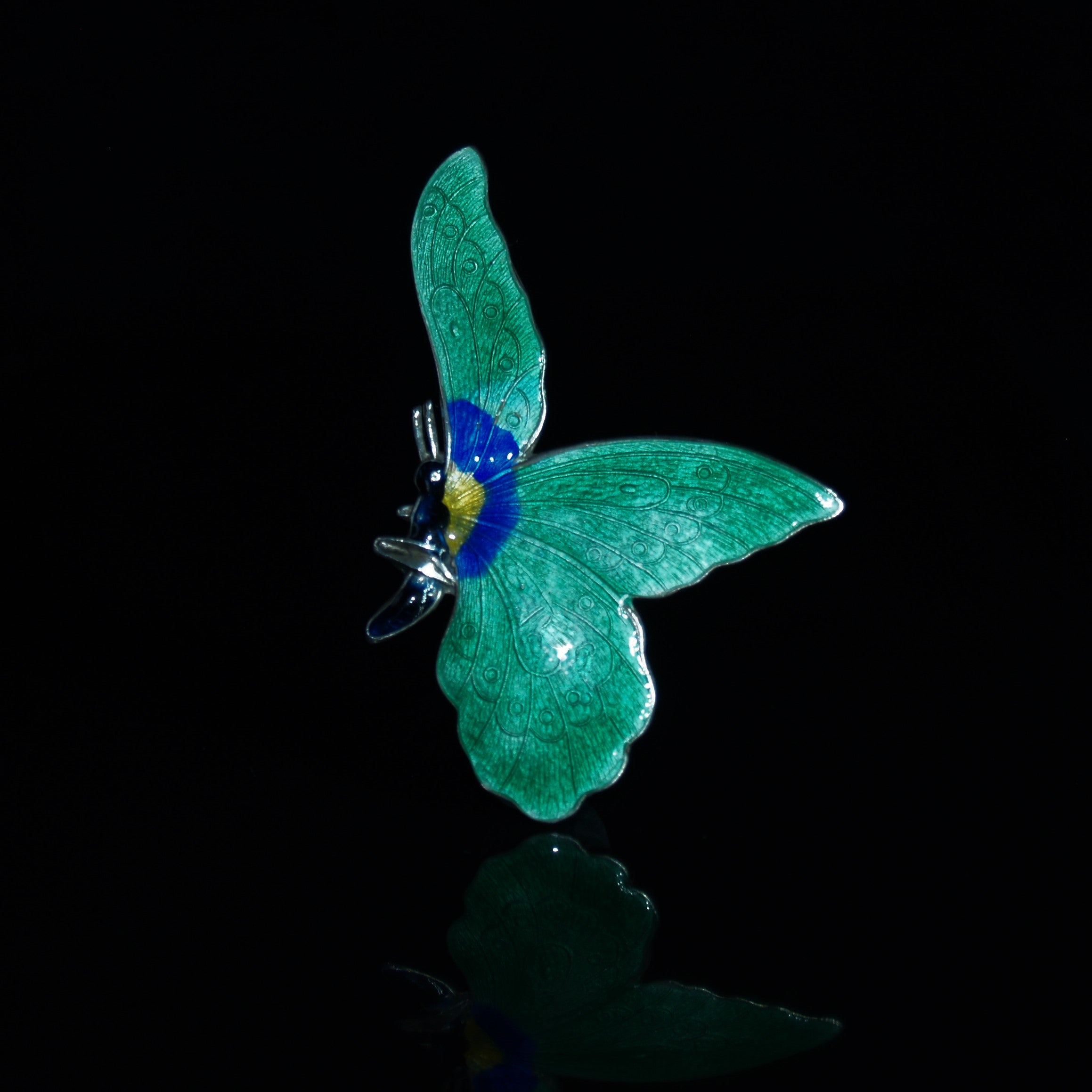 Sterling Silver & Enamel Large Butterfly Brooch.