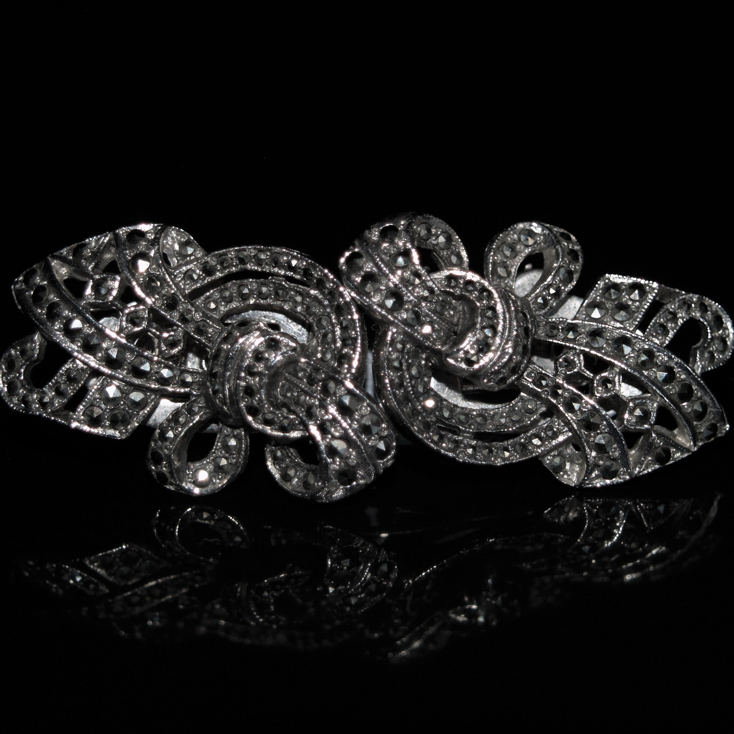Art Deco Metamorphic Chrome Plated Marcasite Brooch.