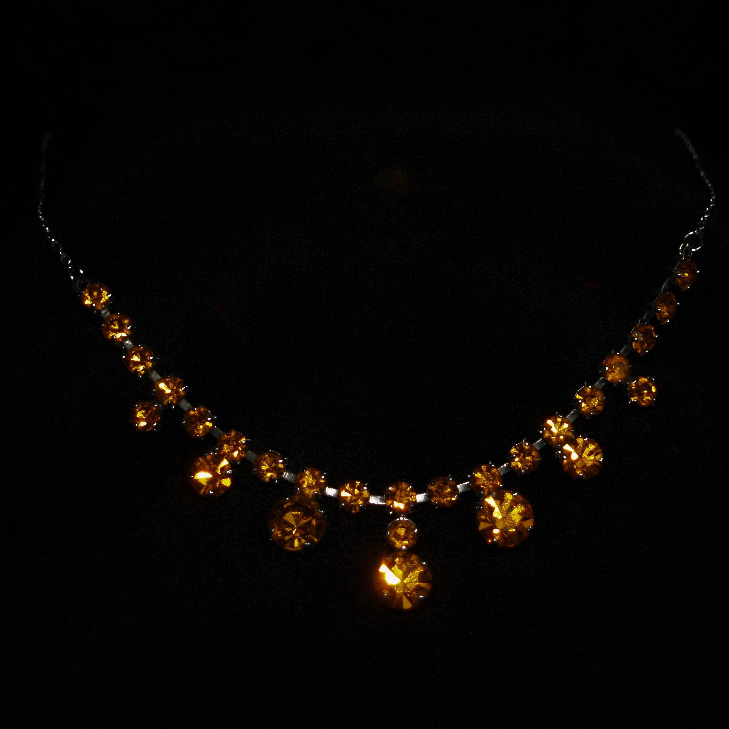 Vintage Chrome Plated Orange Rhinestone Fringe Necklace.