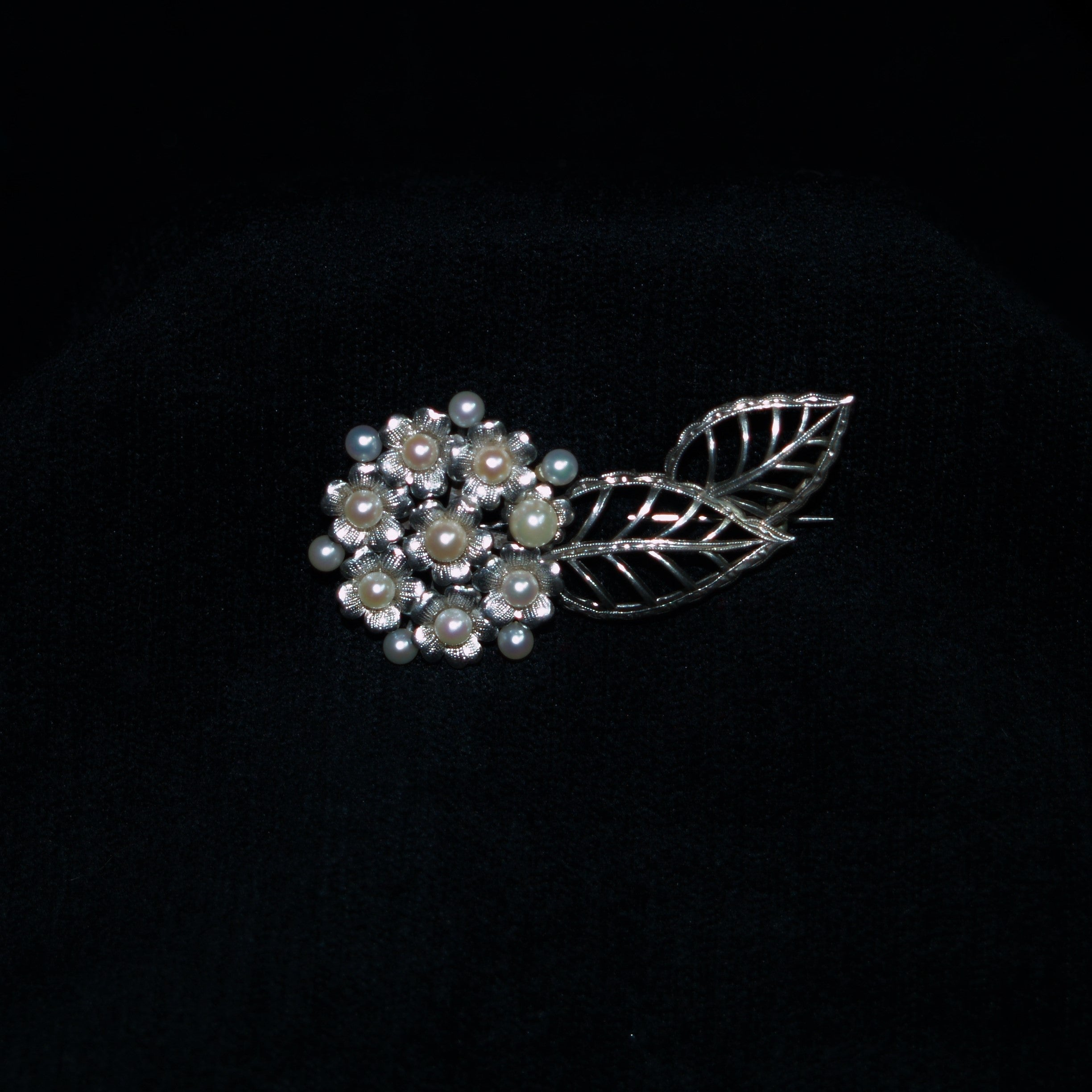 Vintage Mikimoto Sterling Silver & Pearl Brooch.