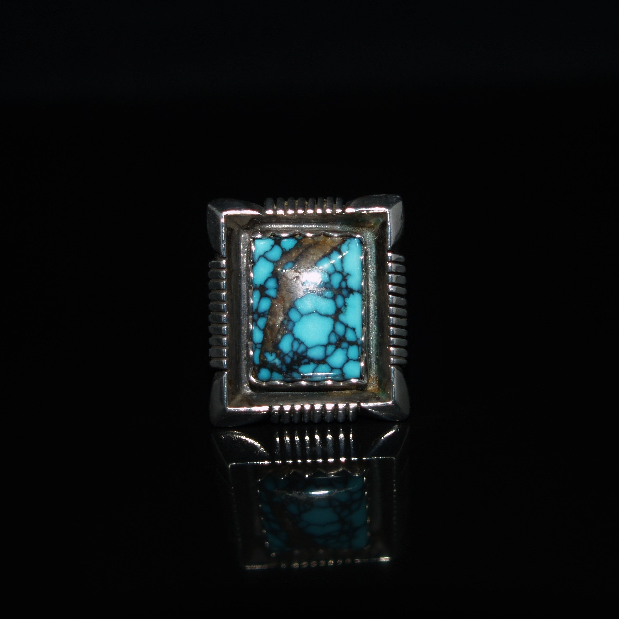 Kenneth Jones Navajo Silver & Turquoise Ring.