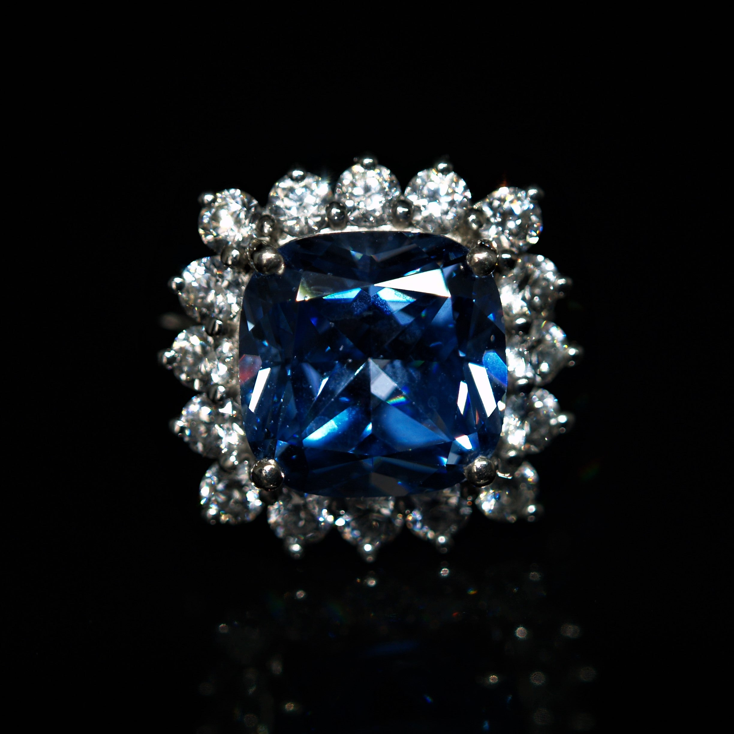 Sterling Silver Blue & White Cubic Zirconia Cocktail Ring.
