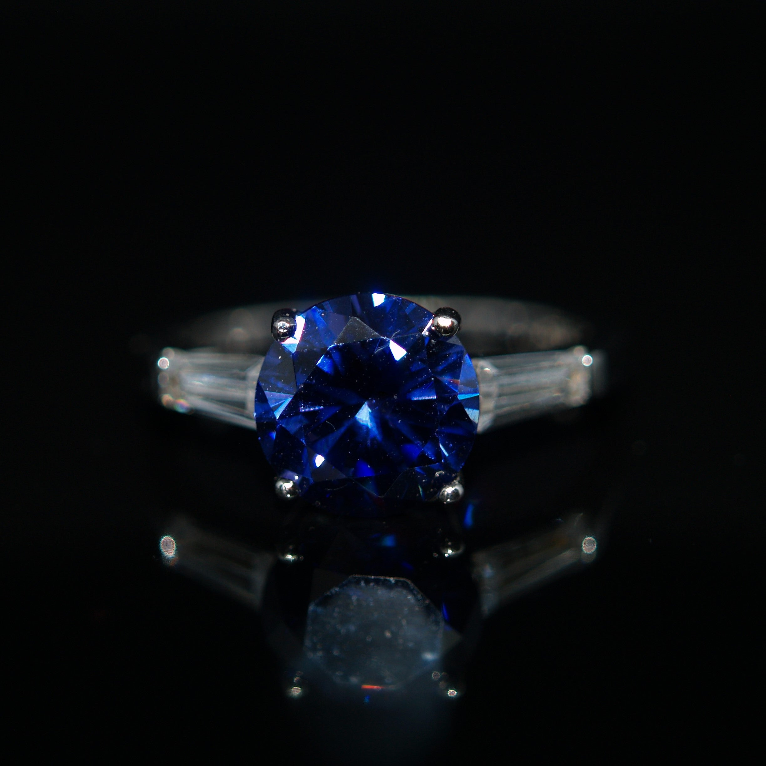 Sterling Silver Blue & White Cubic Zirconia Ring.