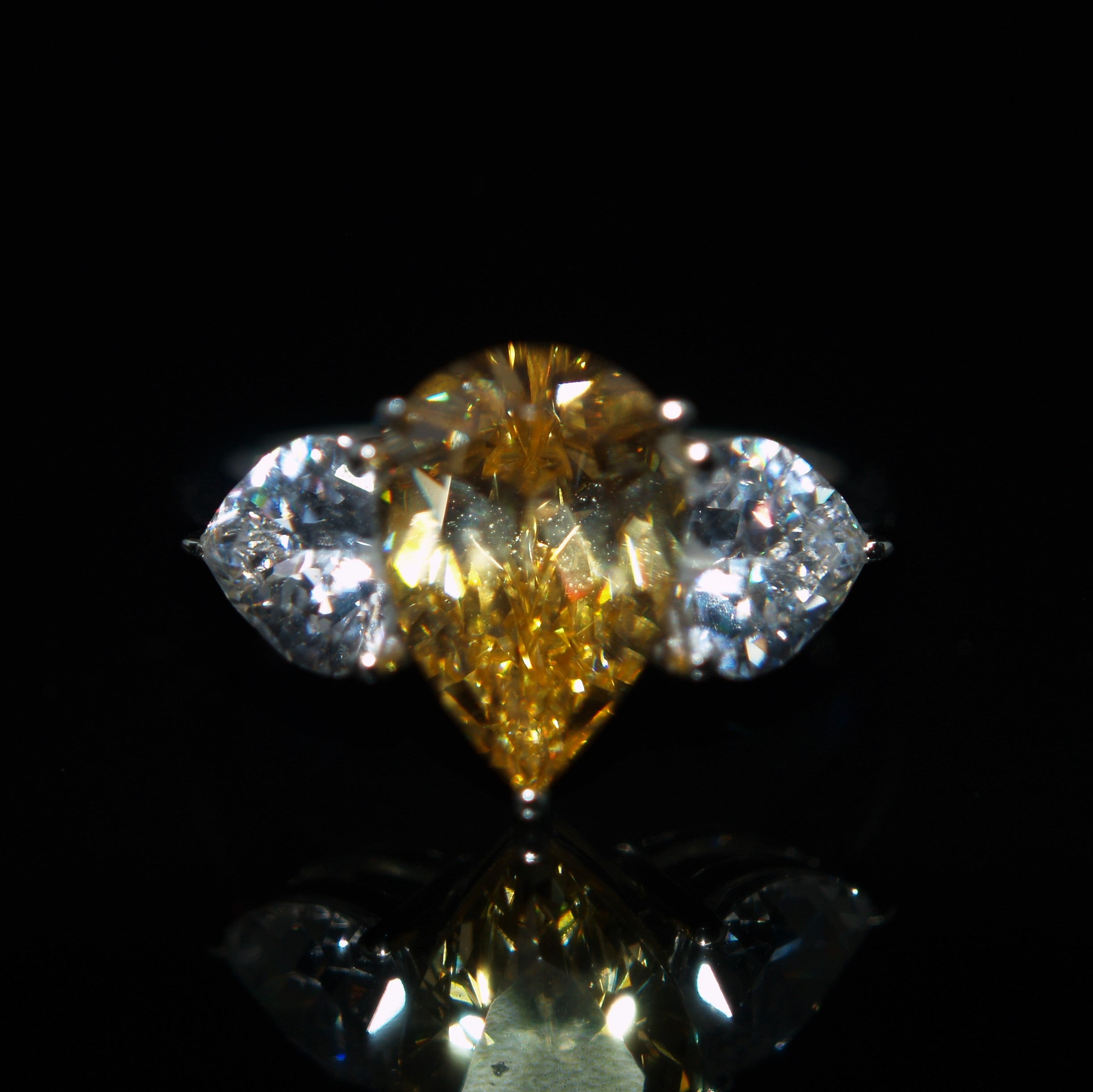 Sterling Silver Yellow & White Cubic Zirconia Ring.