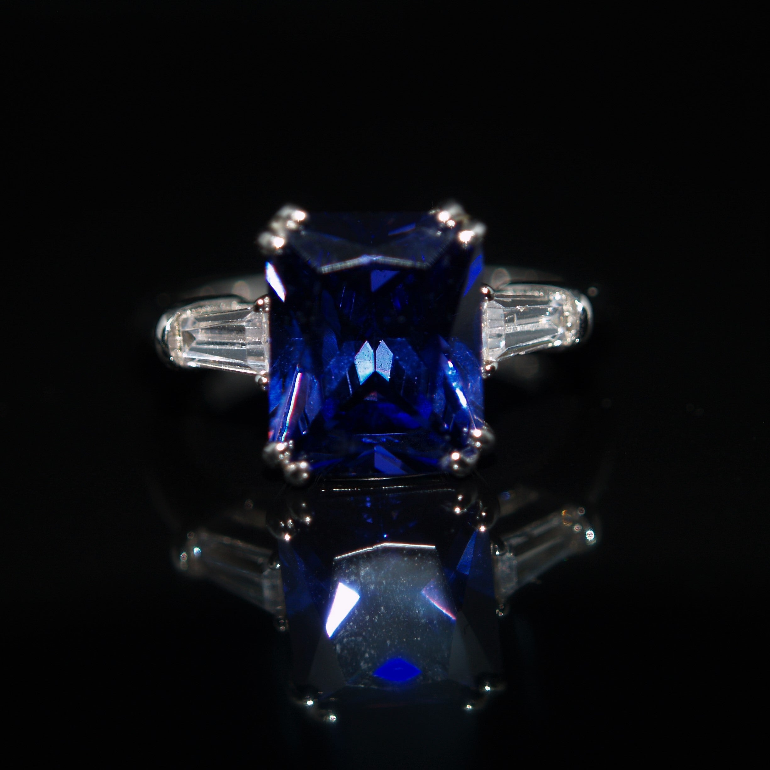 Sterling Silver Tanzanite Blue Cubic Zirconia Ring.
